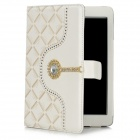 Protective PU Leather Case for Ipad MINI w/ Crystalfor Ipad MINI - White + Beige