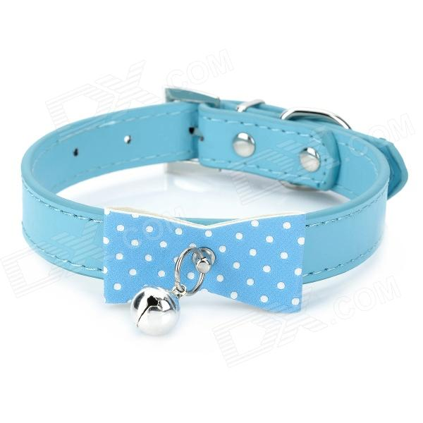 Pet Dog & Cat PU Leather Collar w/ Bell - Blue
