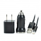 AC/Car Charger + USB Data / Charging Lightning Cable for iPhone 5 / iPad Mini - Black (US Plug)