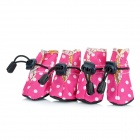 4# Cute Anti-Skidding Pet Shoes for Puppy Dog - Deep Pink (4 PCS)