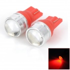 T10 1.5W 40lm Super Bright 1-LED Red Light Car Steering Light - Red + Silver (2 PCS)