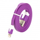 USB Data / Charging 8-Pin Lightning Flat Cable for iPhone 5 - Purple (100CM)