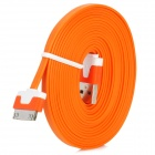 30 Pin Male to USB Male Data / Charging Flat Cable for iPhone 3G / 4 / 4S - Orange (300cm)