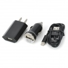 Car Charger + USB to 8 Pin Lightning Cable + AC Powered Charger Adapter Set for iPhone 5 - Black