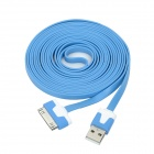 USB Sync Data / Charging Flat Cable for iPhone 3G / iPhone 4 / iPhone 4S - Blue + White (3M)