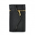 Wallet Style PU Leather Protective Case for Iphone 4 / 4S - Black + Golden