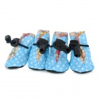 Cute Water Resistant Nylon Anti Slip Pet Dog Boot Shoes - Light Blue (4 PCS)