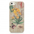 Flower Pattern Protective Luminous Back Case for iPhone 5 - Ivory + Green + Yellow
