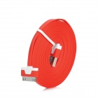 USB Male to Apple 30pin Charging / Transfer Flat Cable for iPhone 4 / 4S / 3G - Red (3M)