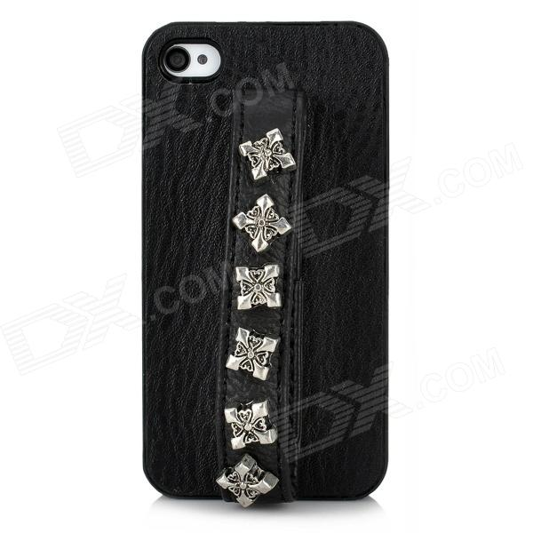 Protective PU Leather Rivet Handheld Back Case for Iphone 4 / 4S - Black stylish protective pu leather case w magnetic closure for iphone 4 4s black