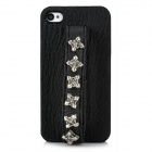 Protective PU Leather Rivet Handheld Back Case for Iphone 4 / 4S - Black