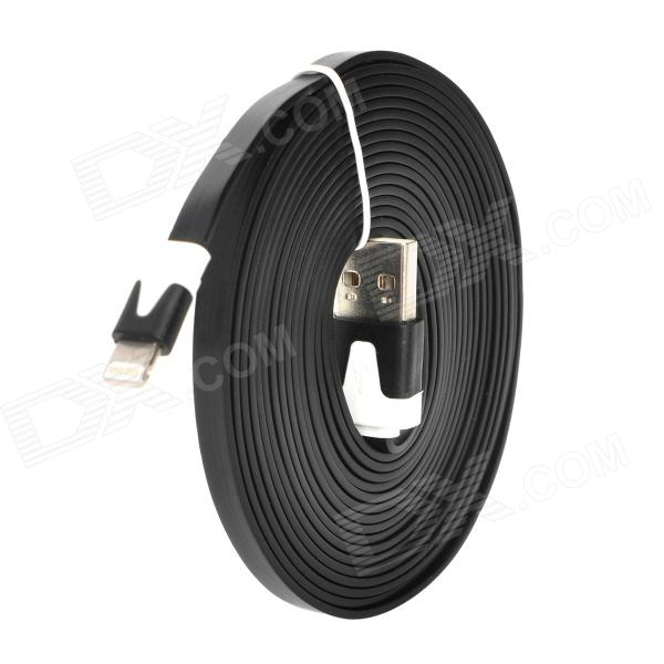 USB Data / Charging 8-Pin Lightning Flat Cable for iPhone 5 - Black + White (300CM)