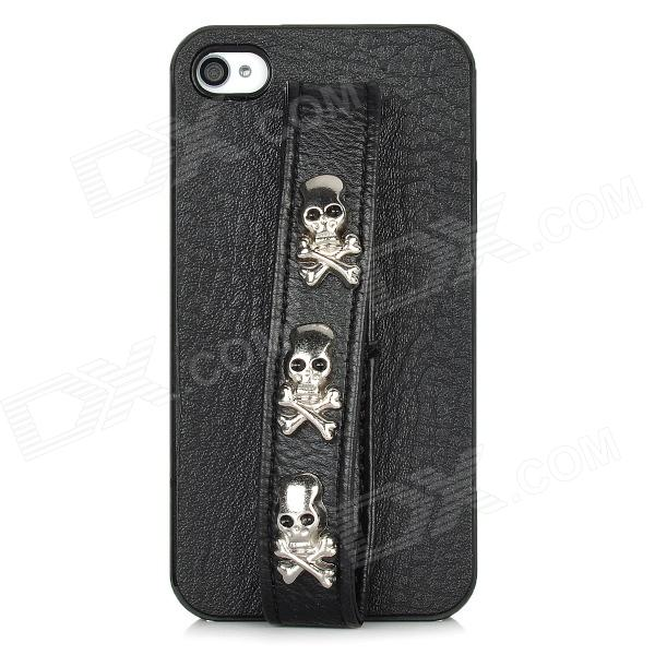 Protective Back Case w/ Hand Strap Studded 3-Skull Head Rivet for Iphone 4 / 4S - Black + Silver cool skull head style protective soft silicone back case for iphone 4 4s pink