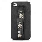 Protective Back Case w/ Hand Strap Studded 3-Skull Head Rivet for Iphone 4 / 4S - Black + Silver