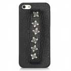 Protective PC Hard Back Case w/ Hand Strap Studded 6-Cross Rivet for Iphone 5 - Black + Silver