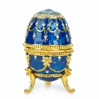 YLS007 Wunderschöne Kristall Egg Stil Ohrring Halskette Schmuck Box - Royal Blue + Golden