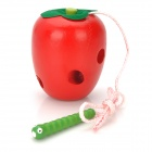 Educational Worm Eating Apple Toy - Rot + Grün