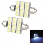 LY191 Festoon 39mm 3.6W 6000K 120lm 12-SMD 5050 LED Reading / Room Lamps (12V / 2PCS)