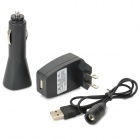 3-in-1 2-Flat-Pin Plug + Car Lighting Charger + USB Cable for Electronic Cigarette - Black