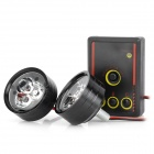 3W 110lm 3-LED Red / Blue Strobe Light Motorcycle Drive / Brake Lamp w/ Remote Controller - Black