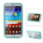 Protective Frosted Back Case w/ Stand for Samsung Galaxy Note II N7100 - Translucent White + Green