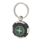 Portable Mini Outdoor Round Compass Zinc Alloy + Acrylic Keychain - Silver + Black