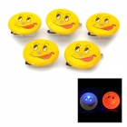 3-LED Naughty Smiling Face Pattern Red + Blue Light 3-LED Badges - Yellow + Black (5 PCS / 3 x AG3)