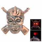 R4647C Double Gun Skull Style Butane Lighter w/ LED Flash Light - Bronze