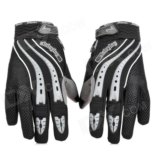 Antislip Full-Fingers Motorcycle Racing Gloves - Black + Grey (Pair / Size L)