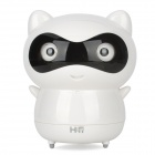 HSD8007B Cute Dora Bear Style Rechargeable Media Player Speaker w/ LED / Stickers - White + Black