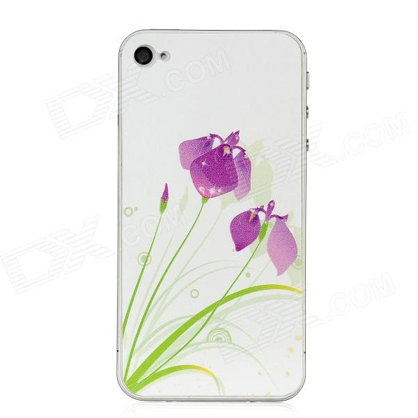 Colorfilm Embossed Orchid Pattern Protective Front + Back Guard Sticker Set for Iphone 4 / 4S stylish bubble pattern protective silicone abs back case front frame case for iphone 4 4s