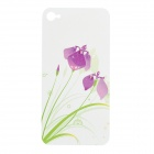 Colorfilm Embossed Orchid Pattern Protective Front + Back Guard Sticker Set for iPhone 4 / 4S