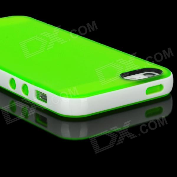 Stylish Protective PVC Back Case for Iphone 5 - Green + White