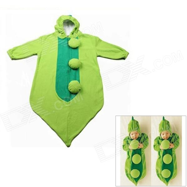 Cute Pea Cocoon Shaped Soft Velvet Warmer Sleeping Bag for Baby - Green