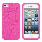 3D Rose Pattern Silicone Back Case for iPhone 5 - Deep Pink