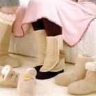Warm Soft Fleece Knee Cover - Beige + Khaki (Pair)