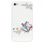 Colorfilm Embossed Branch with Plum Blossom and Magpie Pattern Plastic Case for iPhone 4 / 4S