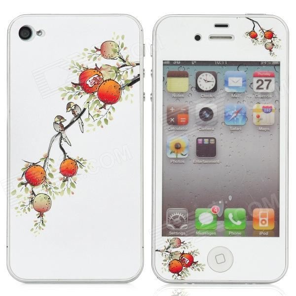 Colorfilm Birds in the Pomegranate Branch Protective Front + Back Stickers Set for Iphone 4 / 4S