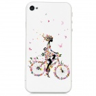Colorfilm Embossed Butterfly Girl Pattern Front + Back Guard Sticker Set for iPhone 4 / 4S - White