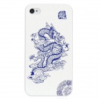 Colorfilm Chinese Dragon Pattern Protective Plastic Case for Iphone 4 / 4S - White + Blue