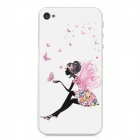 Colorfilm Embossed Butterfly Wing Girl Front + Back Guard Sticker Set for Iphone 4 / 4S - White