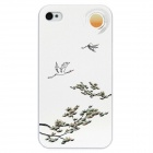 Colorfilm Embossed Egret Flying Pattern Protective Plastic Case for iPhone 4 / 4S - White