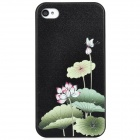 Colorfilm Embossed Lotus Pattern Protective Plastic Case for iPhone 4 / 4S - Black + Green