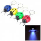 Cute Lady Beetles Shape 1-LED White Light Keychain - Red + Yellow + Blue + Green (4 PCS)