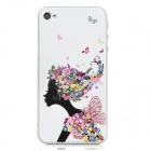 Colorfilm Butterfly Girl Pattern Protective Front + Back Guard Stickers Set for Iphone 4 / 4S