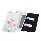 Colorfilm Anthurium Pattern Protective Front + Back Guard Stickers Set for Iphone 4S - White + Pink