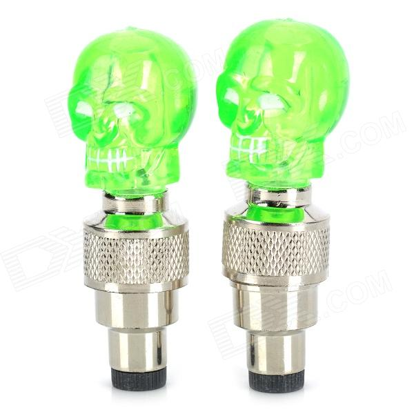 Skull Style Blue LED Flashing Motorcycle/Car Tire Air Valve Sealing Cap - Green (3 x AG10 / 2 PCS) diy multi color motorcycle bike cranked tire valve light white silver 3 x ag10