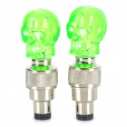 Skull Style Blue LED Flashing Motorcycle/Car Tire Air Valve Sealing Cap - Green (3 x AG10 / 2 PCS)