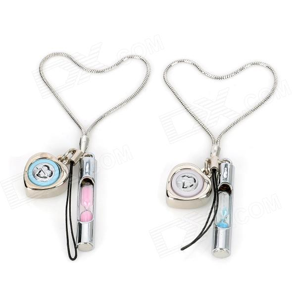 Aikol A-311 Wishing Sandglass Style Voice I Love You Zinc Alloy Mobile Chains - Silver (2 PCS)