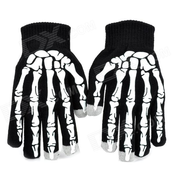 Skeleton Style Knitted Wool Capacitive Screen Touching Hand Warmer Glove - Black + White